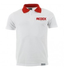 Polo REDOX white, red neckline 100% cotton